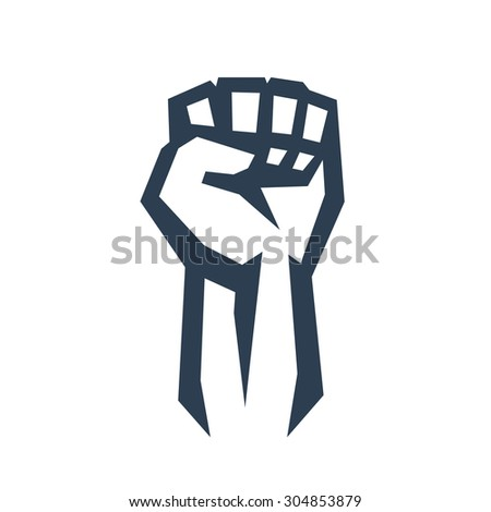 Fist held high in protest, vector illustration, eps10, easy to edit - stock vector