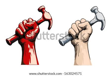 Fist holding a hammer, vector illustration - stock vector