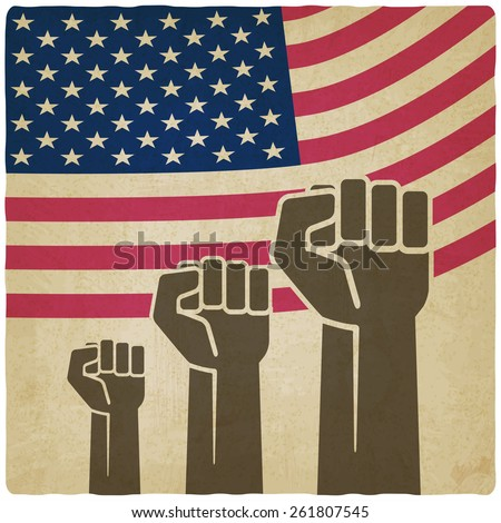fist independence symbol American flag old background - vector illustration. eps 10 - stock vector