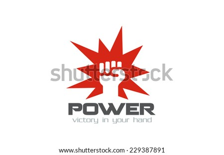 Fist Logo design vector template. Hand hit power strength logotype. Martial Arts concept icon. Revolution symbol. - stock vector