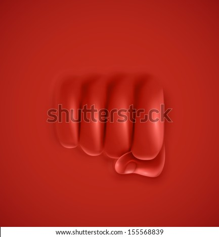 Fist on red background, punch. Illustration contains transparency and blending effects, eps 10 - stock vector