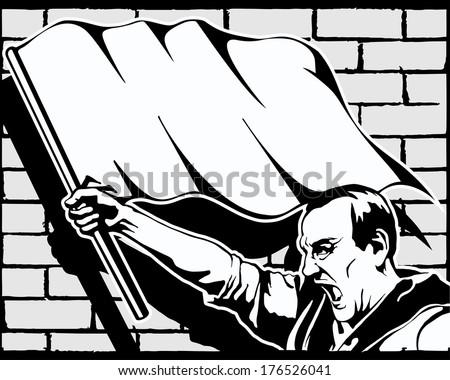 fist, protest, strike, revolution, graffiti, vector illustration - stock vector