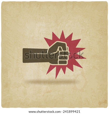 fist punch symbol old background - vector illustration. eps 10 - stock vector