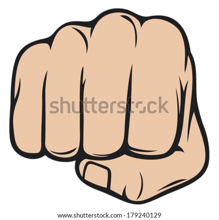 fist punching (human hand punching)  - stock vector