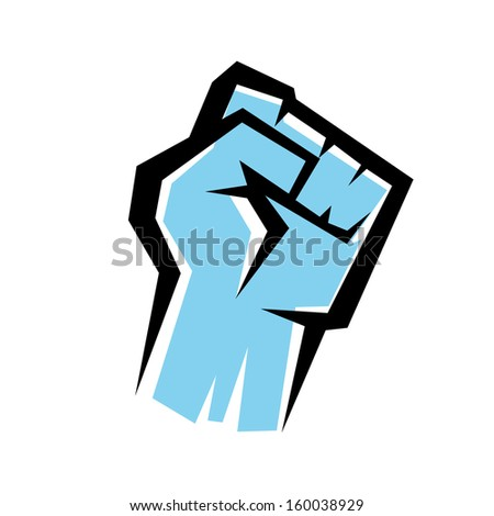 fist stylized vector icon, revolution concept - stock vector