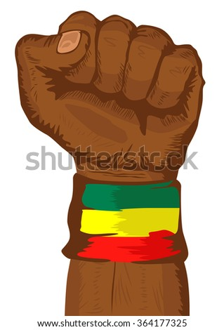 fist wearing a flag of Ethiopia wristband clenched tight - stock vector