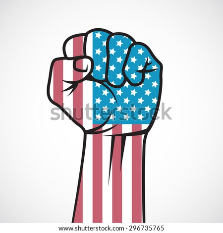Fist with the American flag. - stock vector