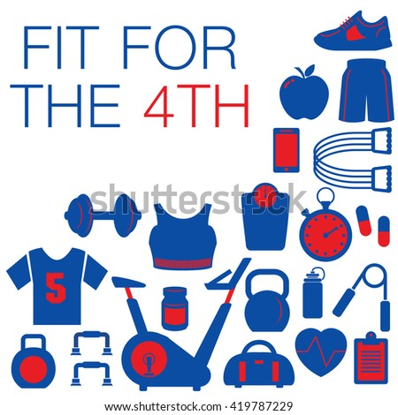 Fit for the 4th -- Fourth of July graphic with space for text - stock vector
