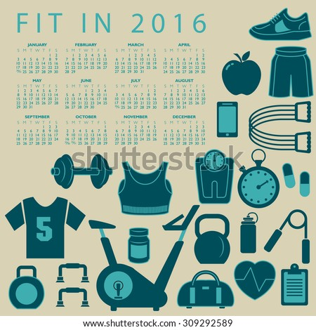 Fit in 2016 creative colorful calendar with fitness icons - stock vector
