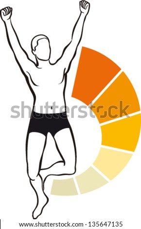 Fit man with energy to the top - stock vector