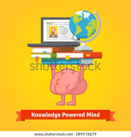 Fit, smart and trained brain lifting books full of knowledge. Education and studying concept. Flat vector icon. - stock vector