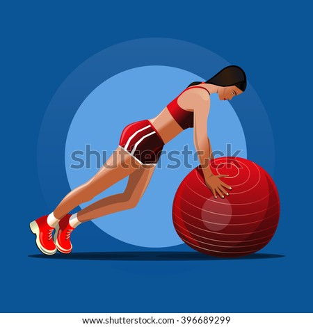 Fitball. Girl and red fitness ball. Girl doing exercise with ball. Vector illustration - stock vector