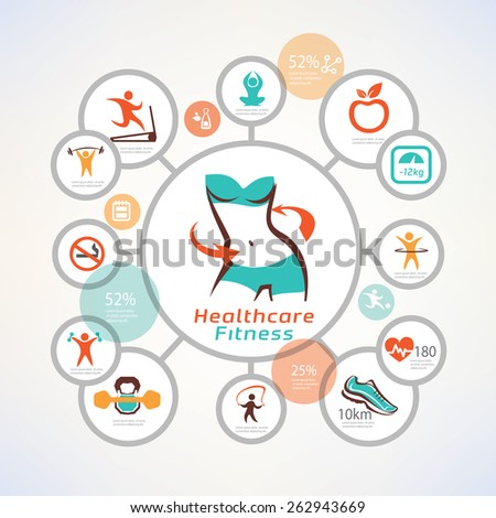 fitness and body care infographics, icons collection, slim waist, active woman concept - stock vector