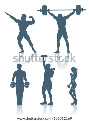 Fitness and bodybuilding silhouettes - vector beckground - stock vector