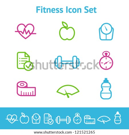 Fitness and diet icon set - stock vector