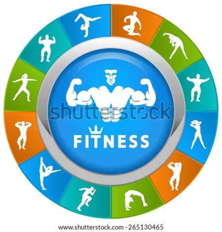 Fitness and gym icons in a circle with beautiful colors - stock vector