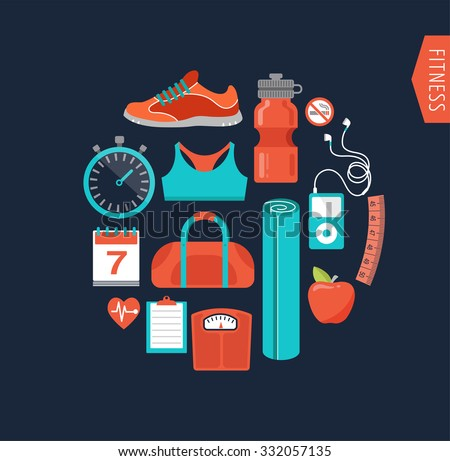 Fitness and gym line, flat icons - stock vector