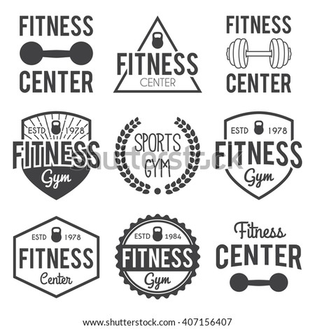 Fitness gym typographic hipster themed badgelabel stock for Posters para gimnasios
