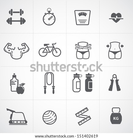Fitness and Health icons set - stock vector