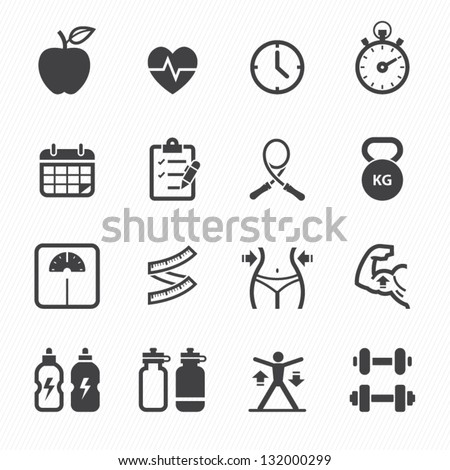 Fitness and Health icons with White Background - stock vector