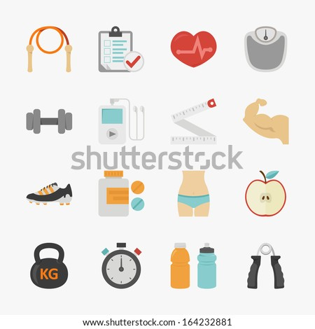 Fitness and health icons with white background , eps10 vector format - stock vector
