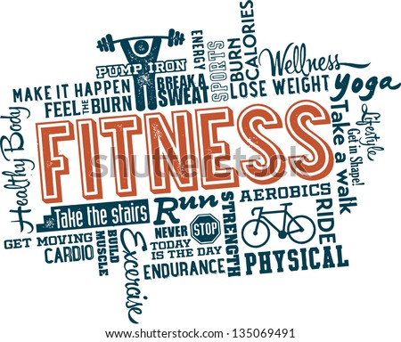 Fitness and Healthy Exercise Word and Icon Cloud - stock vector