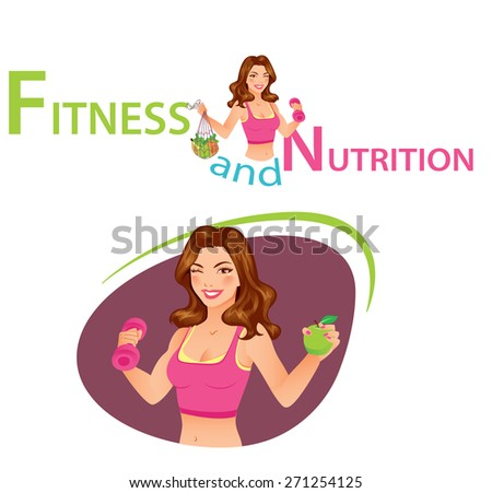 Fitness and Nutrition - Portrait of a beautiful fitness instructor holding dumbbell and fruits - stock vector