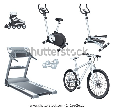 Fitness and sport equipment:  rollers, stationary bicycle, stepper, treadmill, dumbbells, bicycle. Isolated vector illustrations set - stock vector