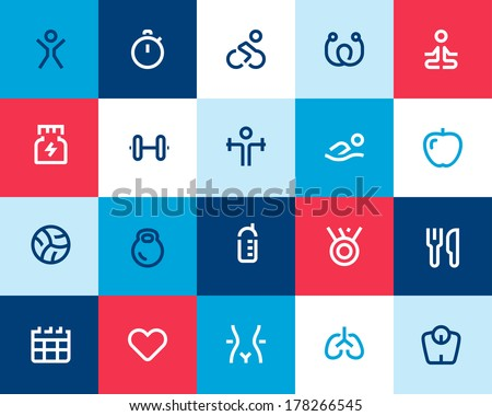Fitness and sport icons. Flat - stock vector