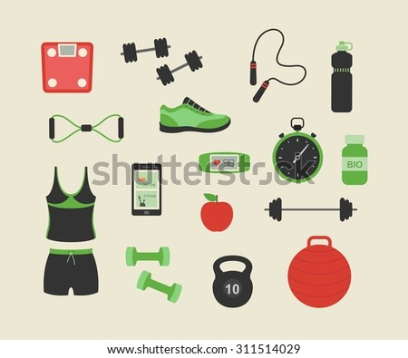 Fitness and sport tools and elements illustration. Vector flat design icons set with dumbbells sport shoes sportswear - stock vector