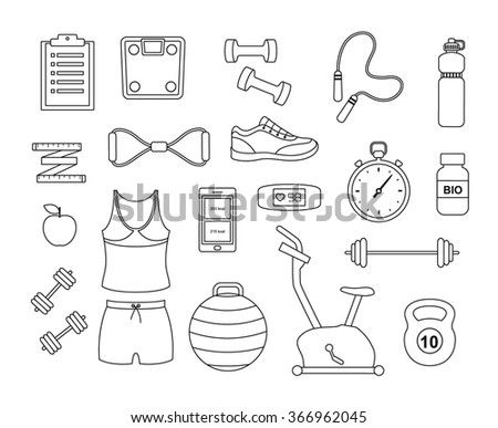 Fitness and sport tools and elements line icons. Vector set with dumbbells sport shoes sportswear - stock vector