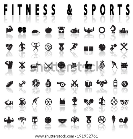 Fitness and sports Icons - stock vector