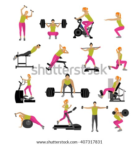 Fitness and workout exercise in gym. Vector set of gym icons in flat style isolated on white background. People in gym. Gym equipment, dumbbell, weights, treadmill, ball. - stock vector