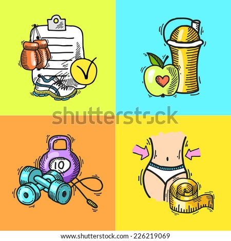 Fitness bodybuilding diet trainer exercise colored hand drawn icons set isolated vector illustration - stock vector