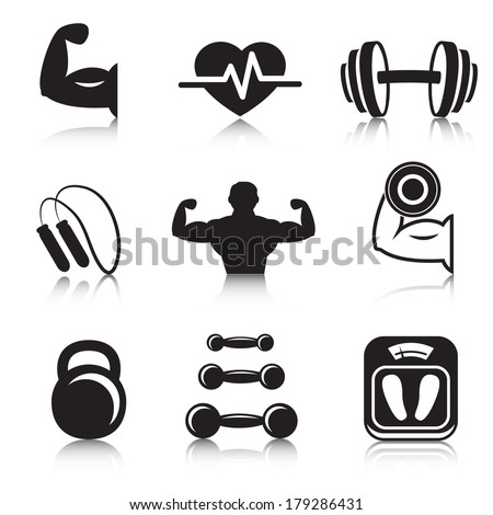 Fitness bodybuilding sport icons set of strength and slimness training exercises isolated vector illustration - stock vector