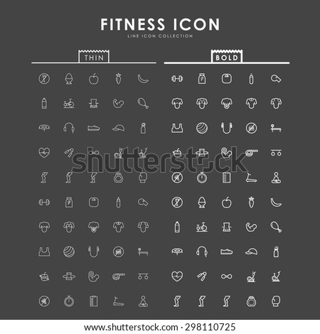 fitness-bold-and-thin-line-icons - stock vector