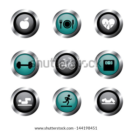 fitness buttons over white background vector illustration