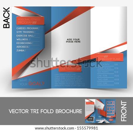 Fitness Center Tri-Fold Mock up & Brochure Design - stock vector