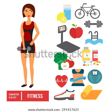 Fitness character set. Woman training in gym with sport icons. Flat Vector illustration. - stock vector