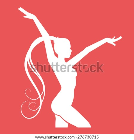 Fitness club emblem with woman silhouette. White fitness logo design template. Women doing some rhythmic gymnastics exercise. Vector illustration. Isolated on red background. - stock vector