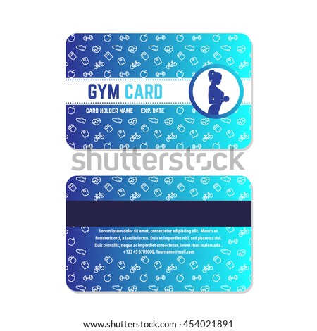 fitness club, gym card design, blue on white