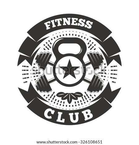 Fitness club logo template with kettlebell and ribbon.  - stock vector