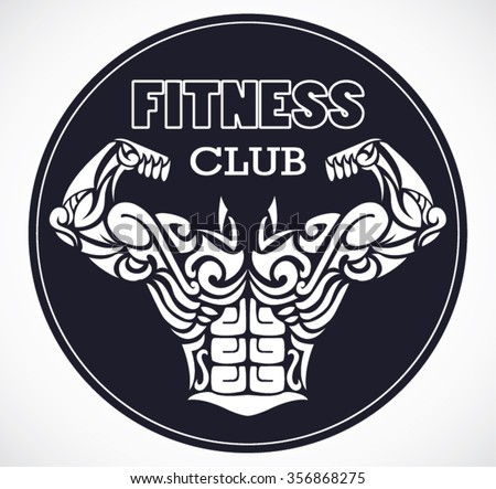 fitness club logo with stylized ornamental muscular body / vector illustration - stock vector