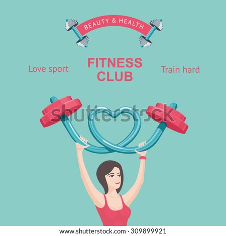 Fitness club poster. Young girl  lifting a barbell. Design vector template. - stock vector