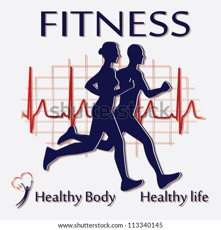 Fitness couple icon vector - stock vector
