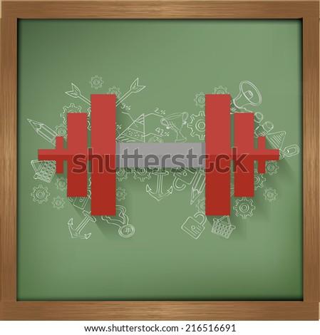 Fitness design on blackboard background,clean vector - stock vector