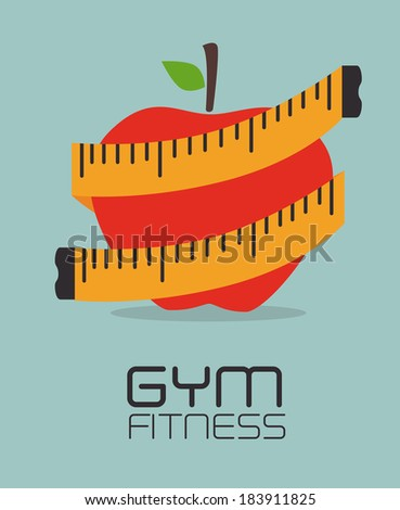 Fitness design over blue background, vector illustration - stock vector