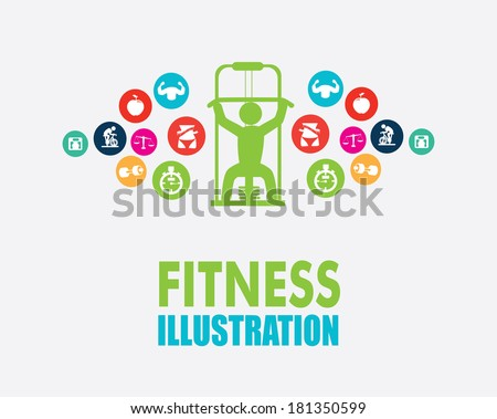 fitness design over gray background, vector illustration - stock vector