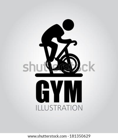 fitness design over gray background, vector illustration - stock vector