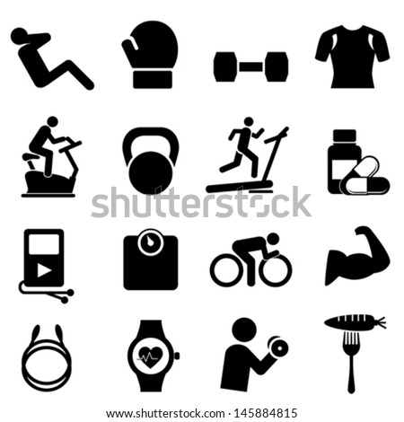 Fitness, diet and healthy living icon set - stock vector